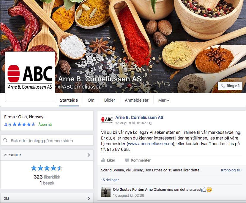 Arne B. Corneliussen Facebook
